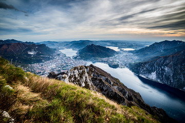 Fotomurales - panoramic view to Lecco Lake - Lake Como district Lombardy Italy