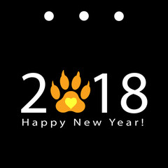 happy new year, greeting card with the number and track of the dog's paw. Vector. Illustration