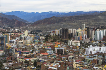 La Paz aerial view, Bolivia. La Paz is the worlds highest capital.
