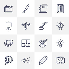 Set Of 16 Constructive Outline Icons Set.Collection Of Idea, Vision, Pencil And Other Elements.