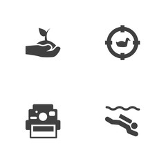 Set Of 4 Entertainment Icons Set.Collection Of Photo Camera, Frogman, Target And Other Elements.