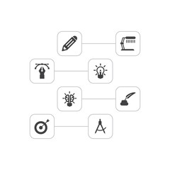 Set Of 8 Creative Icons Set.Collection Of Bulb, Arrow, Illuminator And Other Elements.