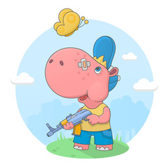 Small hippo with a gun