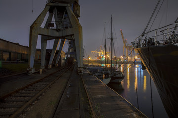 nightly panorama of the old harbor of Hamburg Germany