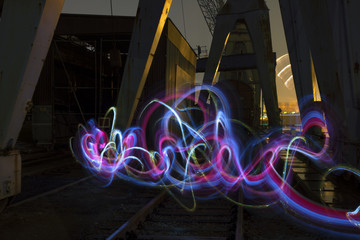 steel wool and lightpainting in the old harbor