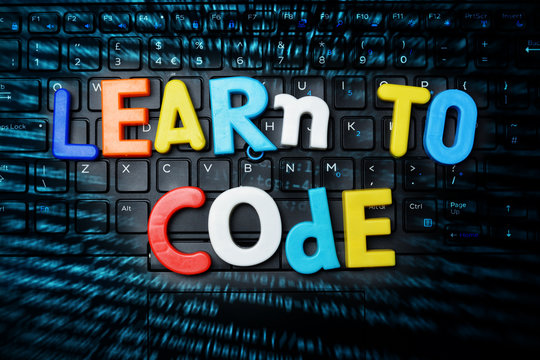 Programming code learning – learn to code text with colored letters on abstract technology background