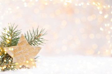 Vintage Christmas background with Christmas decoration.
