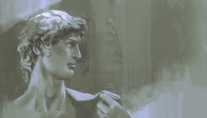 monochrome painting of Michelangelo's David statue, digital art style, illustration