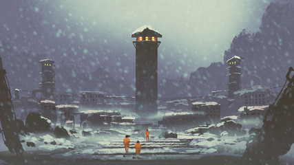 three prisoners walking in the abandoned prison in winter, digital art style, illustration painting