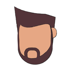 man bearded avatar head  icon image vector illustration design