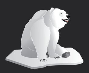 White polar bear sitting on an iceberg of snow isolated on a dark background vector illustration.