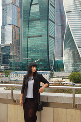 Moskow city, a woman visits the business center