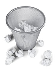Crumpled Paper in a Waste Basket