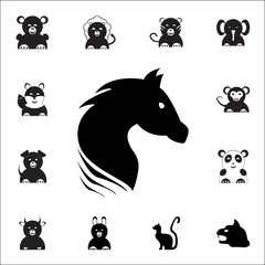 black horse icon. Set of animal icons. You can use in web or app icons