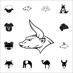 Angry bull icon. Set of animal icons. You can use in web or app icons