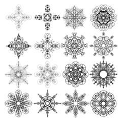 Beautiful boho round set with mandala. Sacred Geometric circle elements made in hand drawn ethnic art. Flash tattoo sketch. Astrology, alchemy, spiritual magic symbol hatching. Vector.