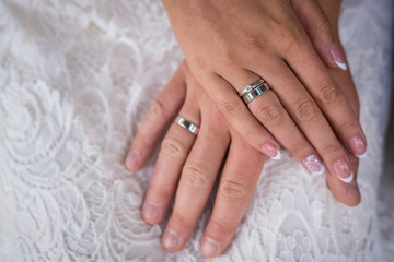 Bride's hand on the bride's hand with a ring