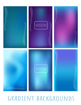 Set of Gradient vector blue mesh backgrounds  with plant for website, presentation, mobile