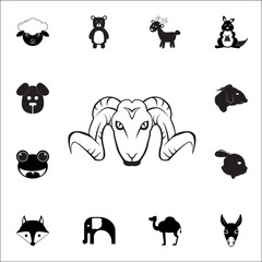 Aries, wild sheep icon. Set of animal icons. You can use in web or app icons