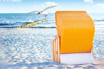 Fototapete - Strandkorb an der Ostsee