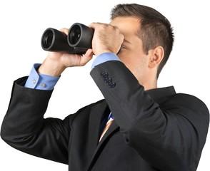 Businessman Using Binoculars