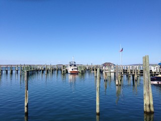 A Boat Docked at a Pier in Sag Harbor, Long Island, New York