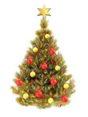 3d golden Christmas tree