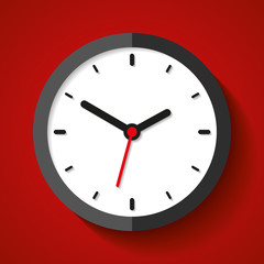 Clock icon in flat style, timer on red background. Business watch. Vector design element for you project