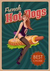 Pin up girl riding a hot dog. Fast food retro poster. Vector illustration.