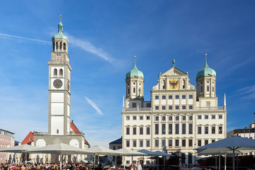 Augsburg: Perlachturm und Rathaus