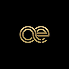 Initial lowercase letter ae, linked outline rounded logo, elegant golden color on black background