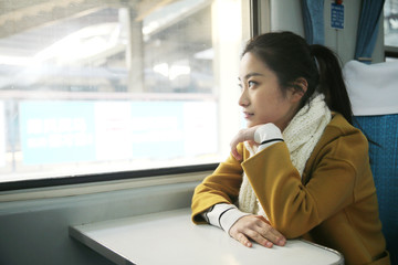 Young woman on the train