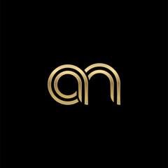 Initial lowercase letter an, linked outline rounded logo, elegant golden color on black background