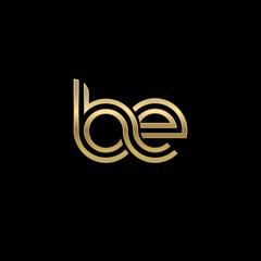 Initial lowercase letter be, linked outline rounded logo, elegant golden color on black background