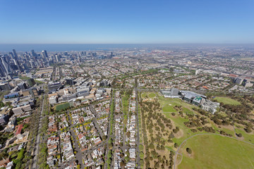Aerial view of Parkville, looking south-west towards North Melbourne