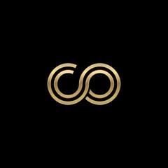 Initial lowercase letter co, linked outline rounded logo, elegant golden color on black background