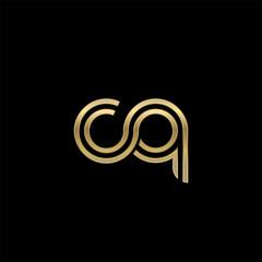 Initial lowercase letter cq, linked outline rounded logo, elegant golden color on black background