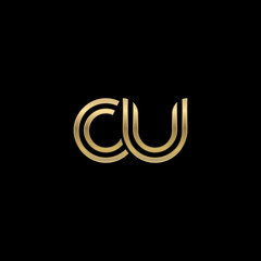Initial lowercase letter cu, linked outline rounded logo, elegant golden color on black background