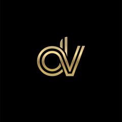 Initial lowercase letter dv, linked outline rounded logo, elegant golden color on black background