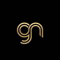 Initial lowercase letter gn, linked outline rounded logo, elegant golden color on black background