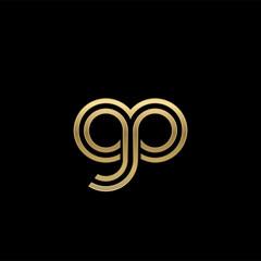 Initial lowercase letter gp, linked outline rounded logo, elegant golden color on black background