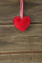 Handmade christmas decoration on wooden plank