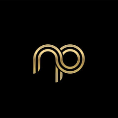 Initial lowercase letter np, linked outline rounded logo, elegant golden color on black background