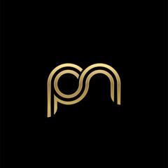 Initial lowercase letter pn, linked outline rounded logo, elegant golden color on black background