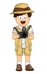 Illustration of a Little Boy in Safari Gear Using a DSLR Camera