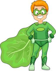 Kid Boy Green Super Hero Veggie Illustration
