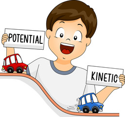 Kid Boy Potential Kinetic Energy Illustration