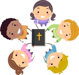 Stickman Kids Hands In Bible Illustration