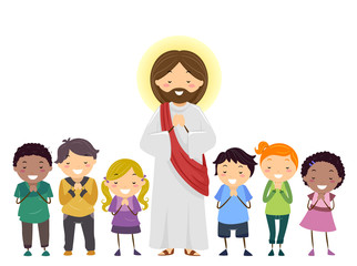 Stickman Kids Jesus Praying Illustration