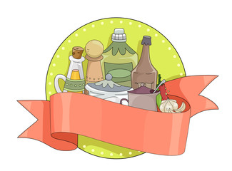 Spices Condiments Banner Illustration